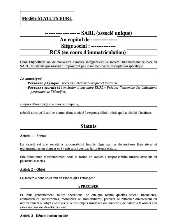 Statuts EURL