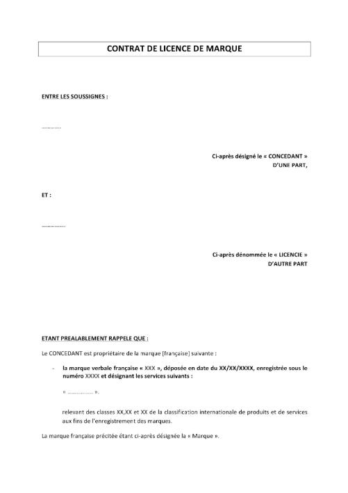 Contrat de licence de marque