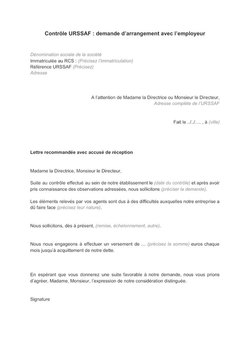 Contrôle URSSAF : demande d'arrangement avec l'employeur