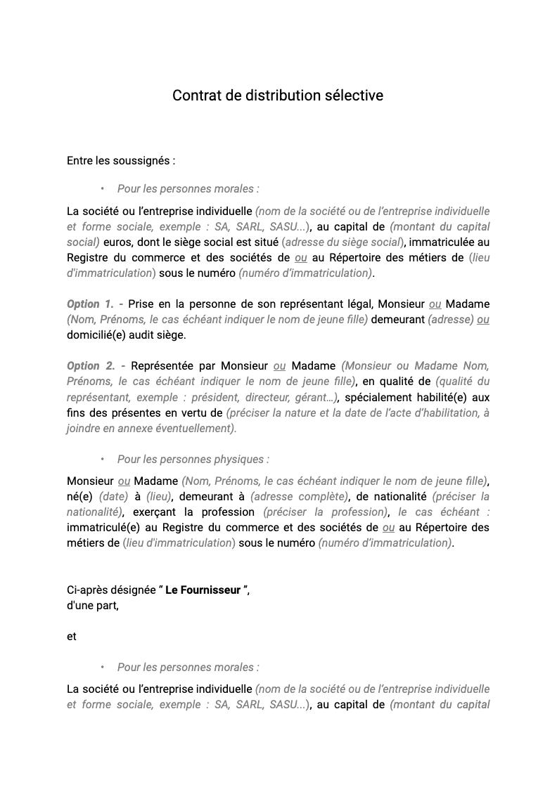Contrat de distribution sélective