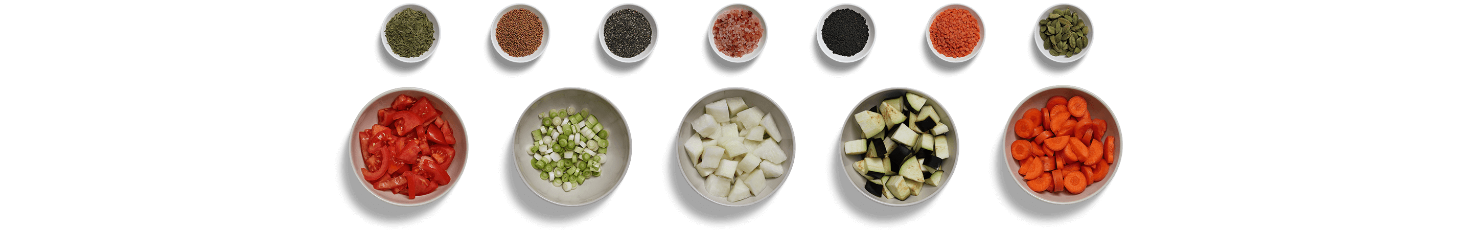 Mise en place arrangement of prepared food ingredients