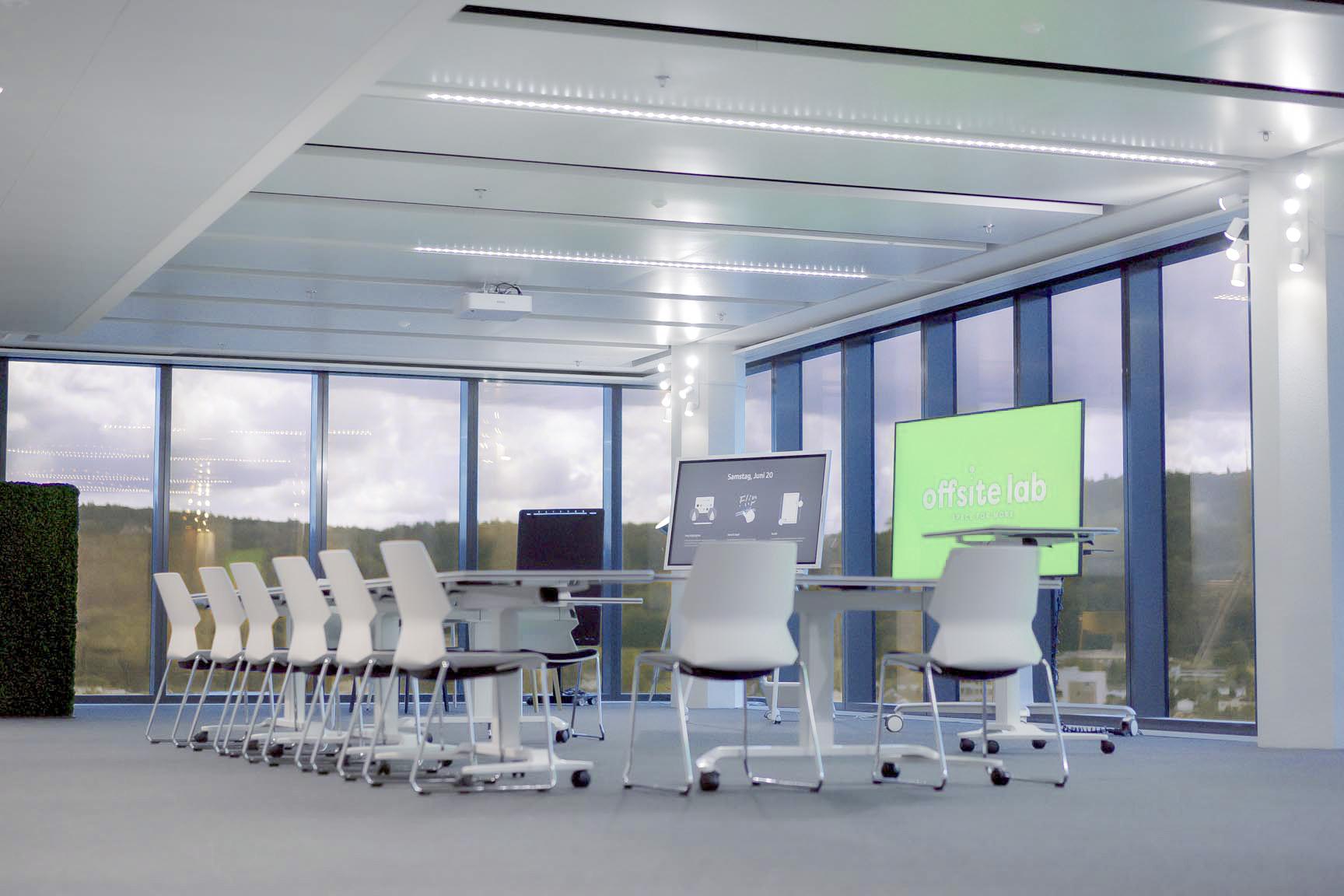 Büro und Event-Raum mit Arbeitsplätzen und Modluarem Aufbau mieten, günstig ind Wallisellen Glatt Tower, Büro im Glattzentrum, Richtiplatz