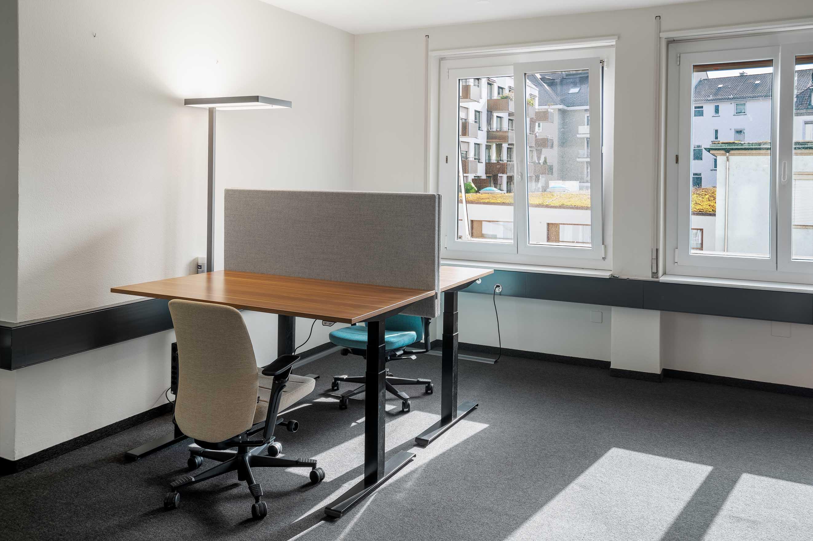 private office in shared community, work together in a coworking space, höhenverstellbare tische schreibtische büro mieten arbeitsplätze vermieten