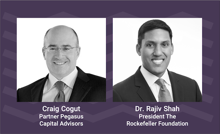 From left to right, headshots of Mr. Craig Cogut and Dr. Rajiv Shah