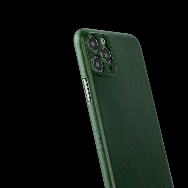 iphone with a super slim green case on
