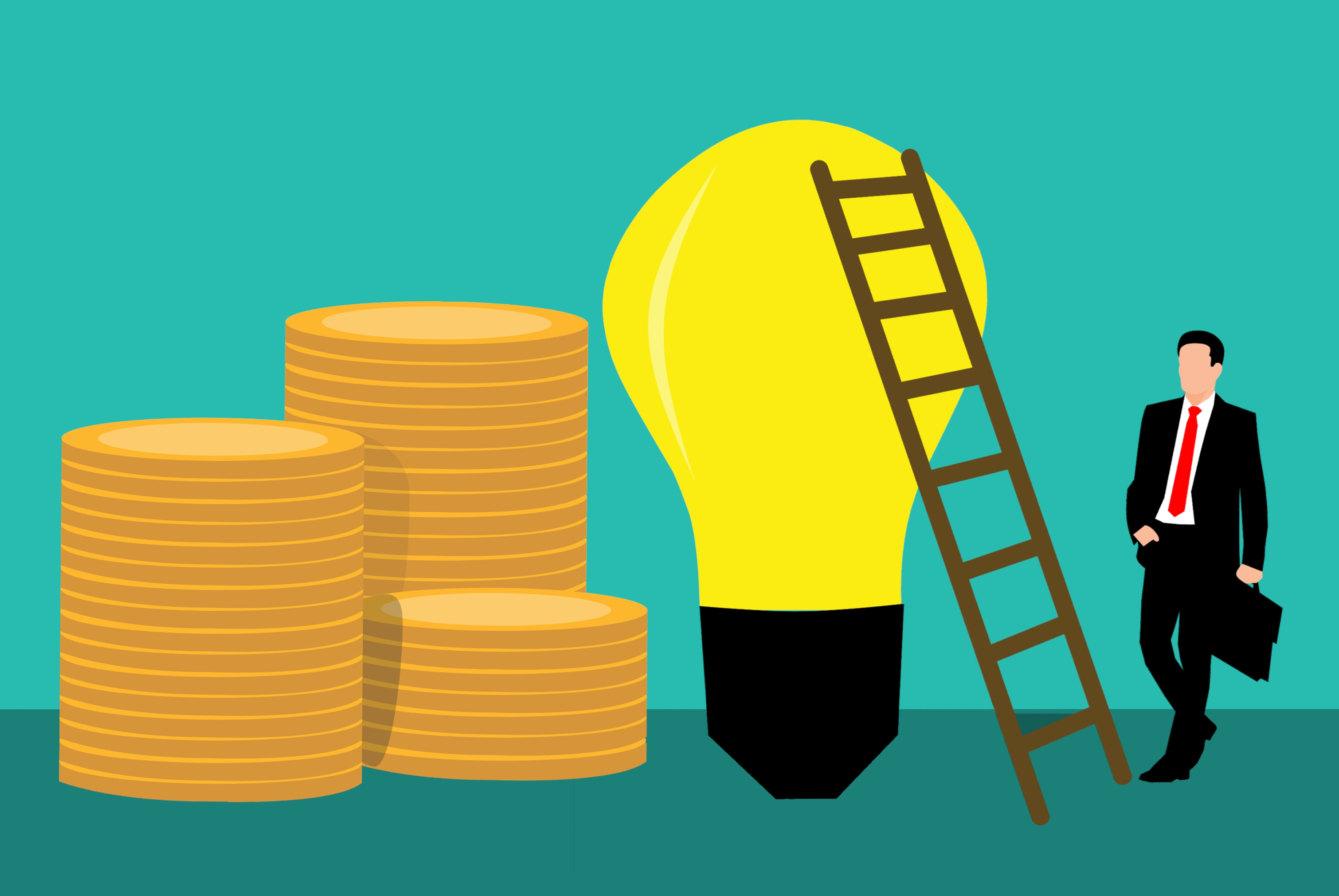 A graphic in clip art syle. Background is a light blue and the floor is teal, both solid colours. On the left are 3 different sized piles of large gold coins. In the centre is a yellow light bulb which takes up 4 fifths of the length of the image, it has a brown ladder leaning against it. To the right of this is a man in a black suit and red tie, carrying a black brief case. His head reaches half way up the ladder.