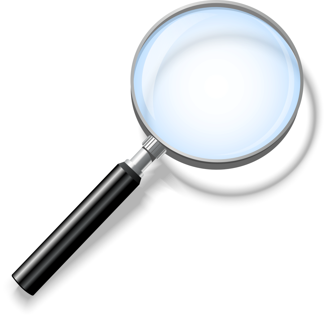 A small graphic magnifying glass with a black handle