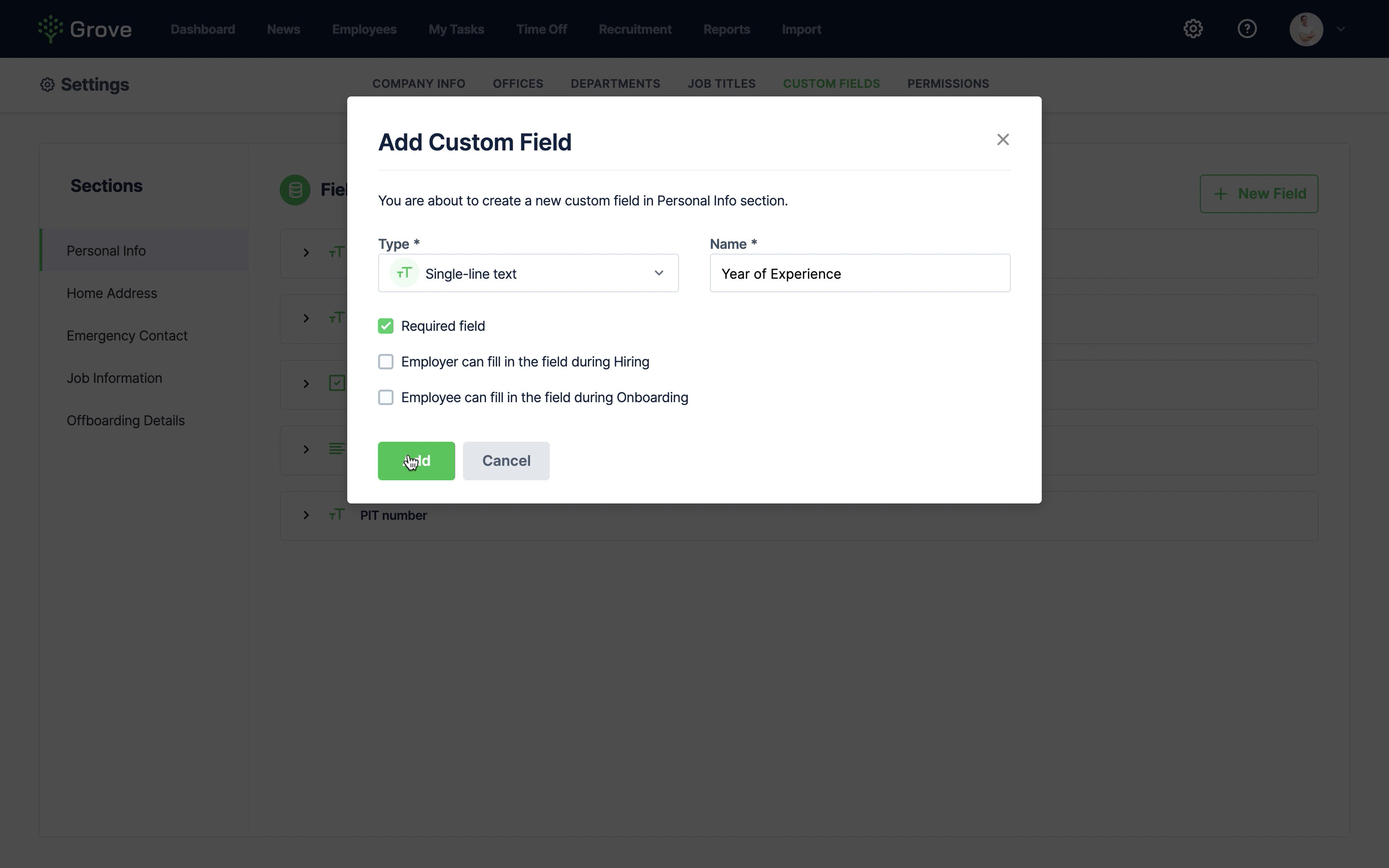 Grove HR - Create Custom Field
