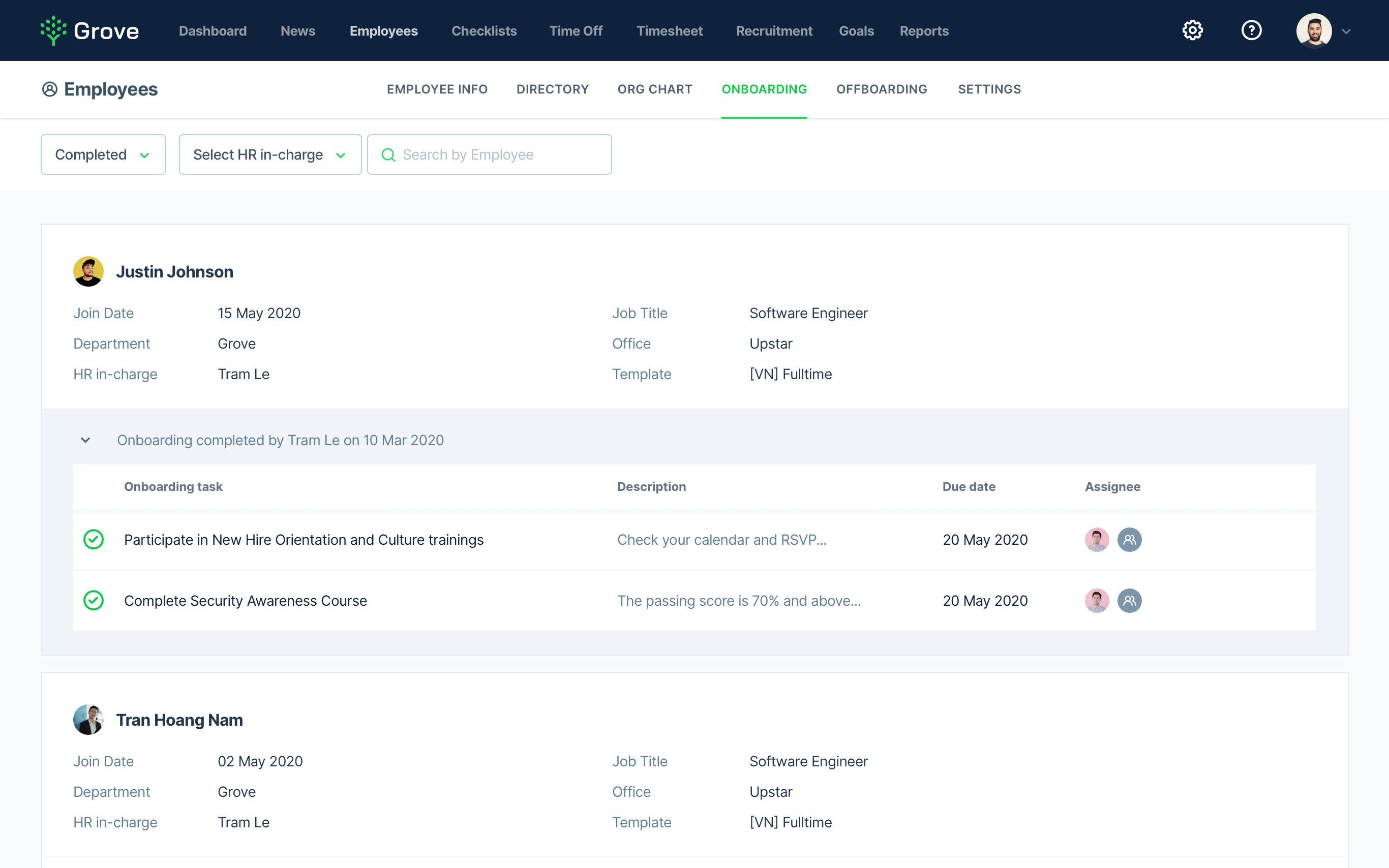 Grove HR - View Onboarding Progress