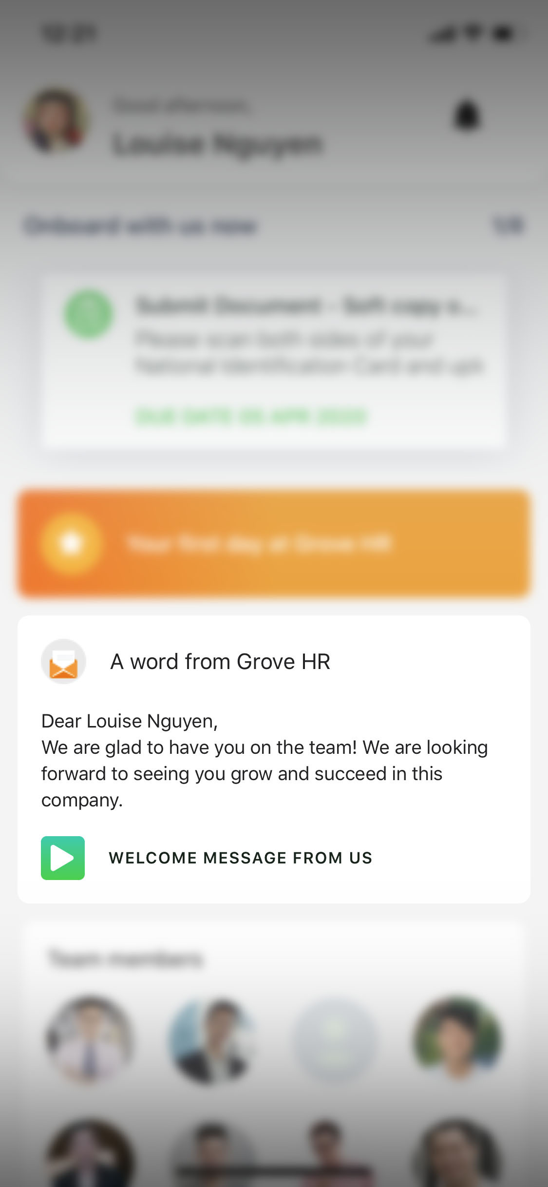 Grove HR - Mobile Welcome Message
