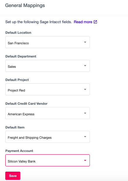Sage Intacct Integration - general mappings