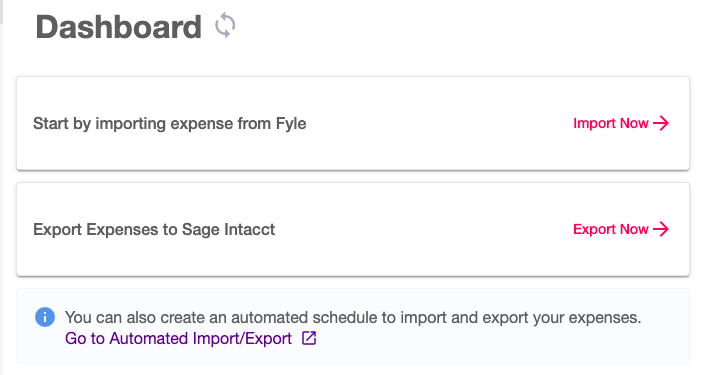 Sage Intacct Integration - import and export