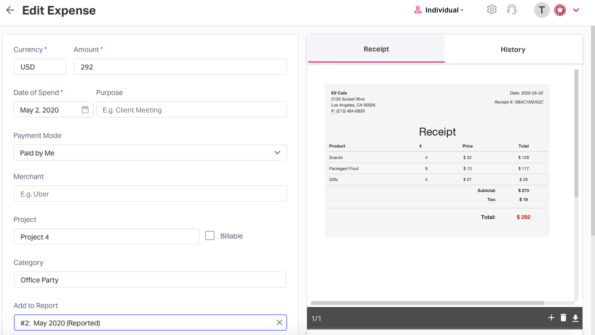 Automated expense reporting - control