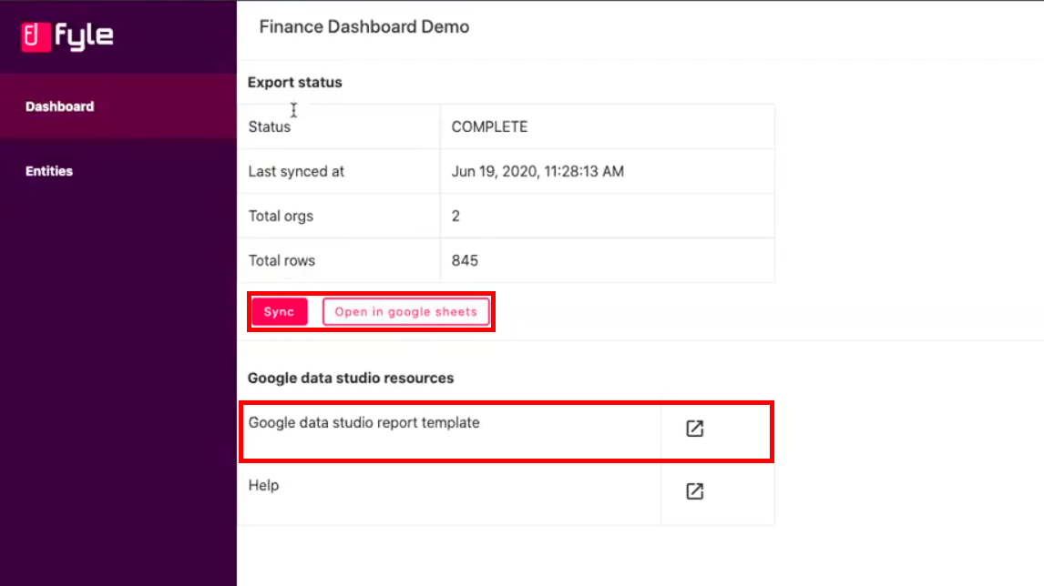 Fyle integrates with Google Data Studio for finance teams who want to study the expense report data deeply