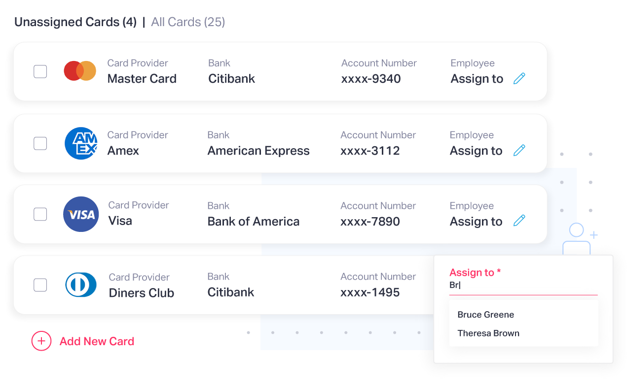 Manage multiple corporate cards from a single place