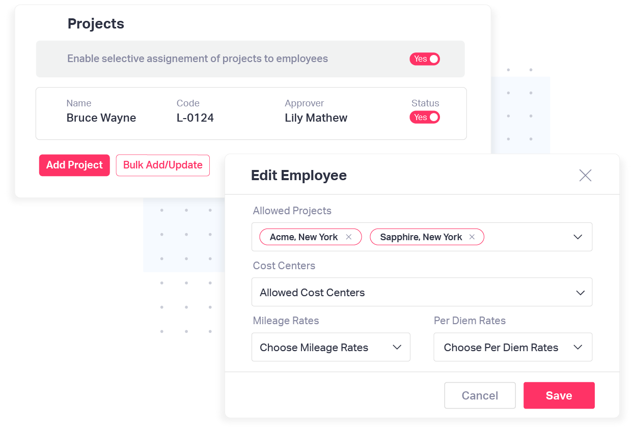 Enable specific projects for your employees with Fyle's expense management software