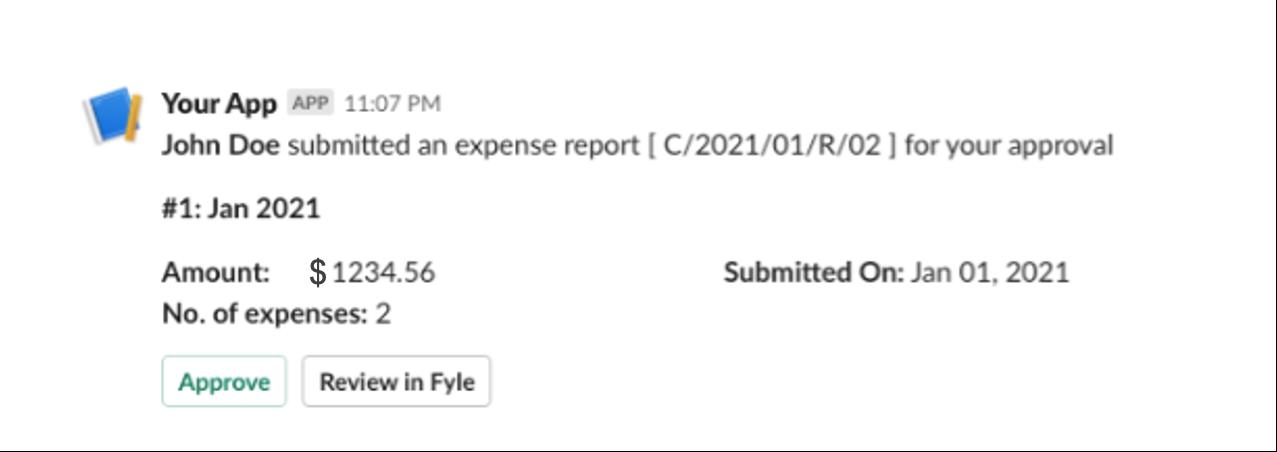 Expense approval process - Slack