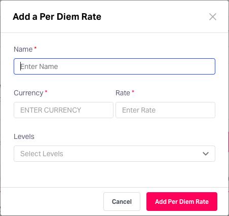 Adding per diem rates in Fyle
