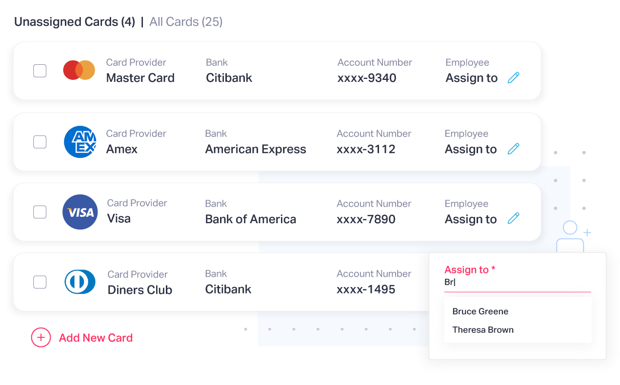 Track and manage multiple corporate cards in one place