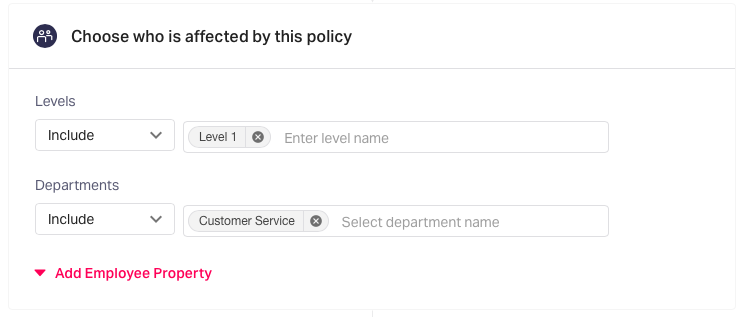 Select the employees affected by the expense policy