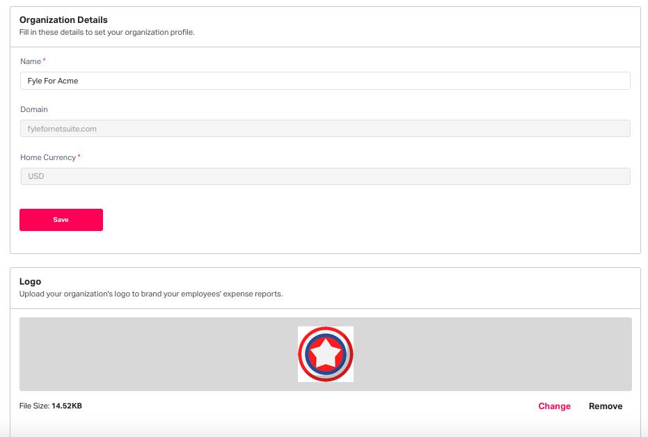 Adding organization details in Fyle