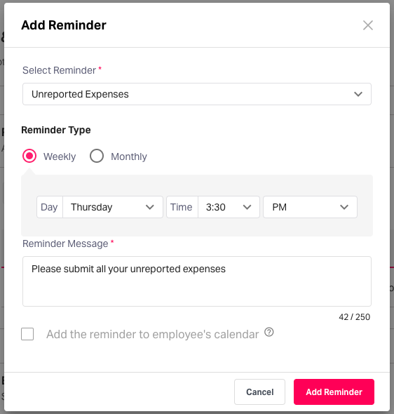 Automated reminder for expense-related activities