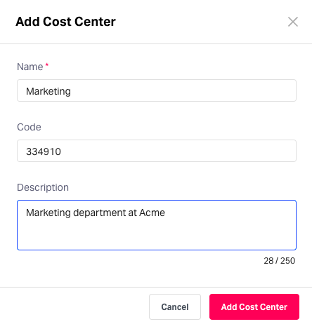 Adding cost centres in Fyle