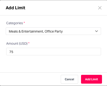 Define receipt submission limits for expenses