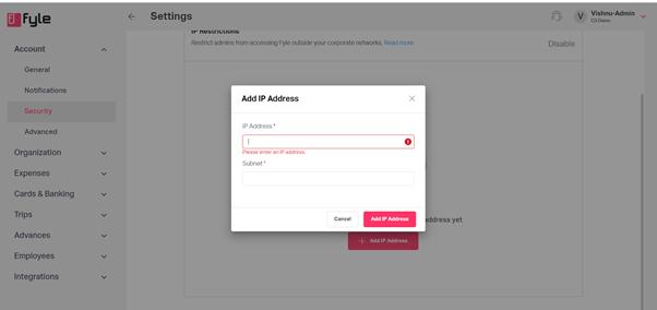 Fyle: IP access controls