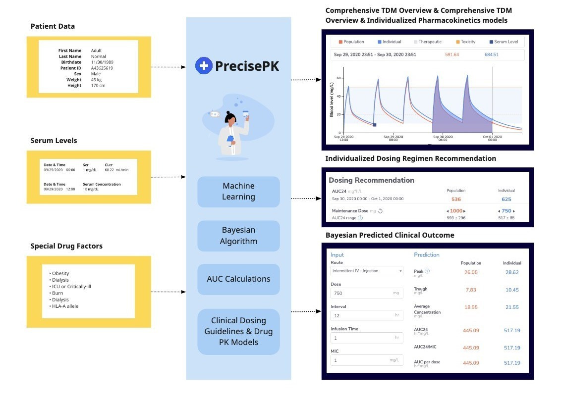 The PrecisePK workflow, starting with serum levels, patient info and special drug factors then processed through our A.I. engine to give comprehensive therapeutic drug monitoring overview, individualized pharmacokinetics models and precise dosing regimens.