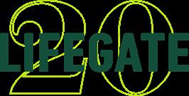 Logo di Lifegate celebrativo del 20esimo anniversario e partner di TEDxUNICATT Countdown.