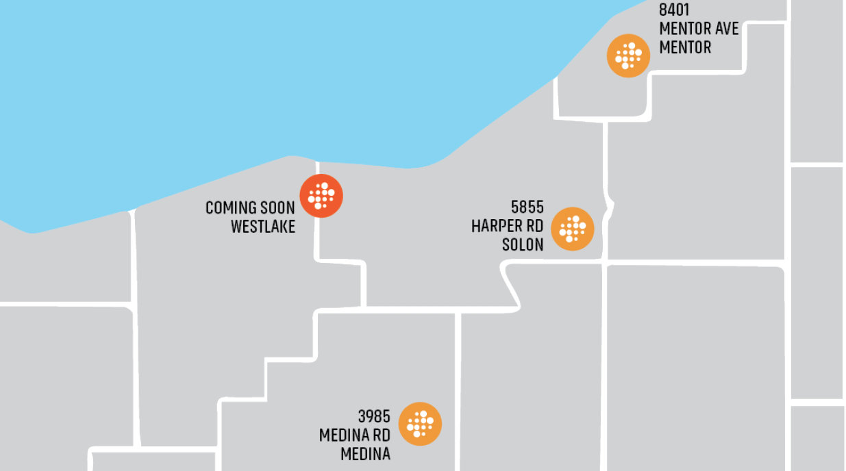 Map of the four convenient locations of Lumina Imaging and Diagnostics throughout Northeast Ohio