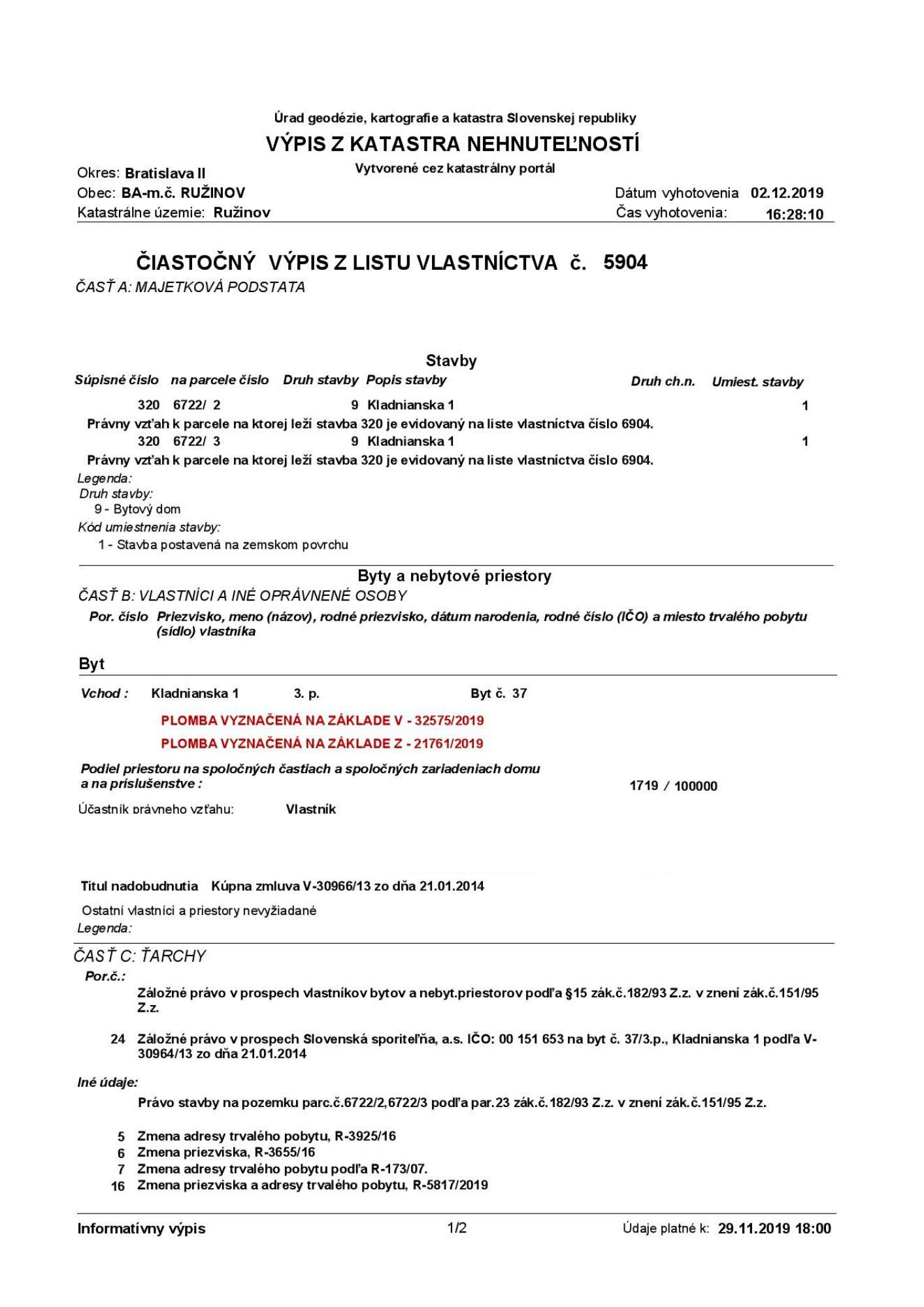 list vlastníctva výpis z katastra plomba