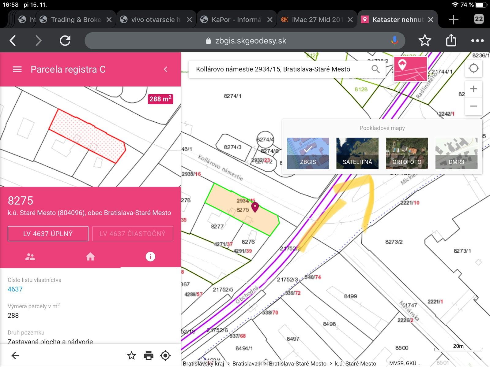 list vlastnícta vyhľadávanie satelitné mapy