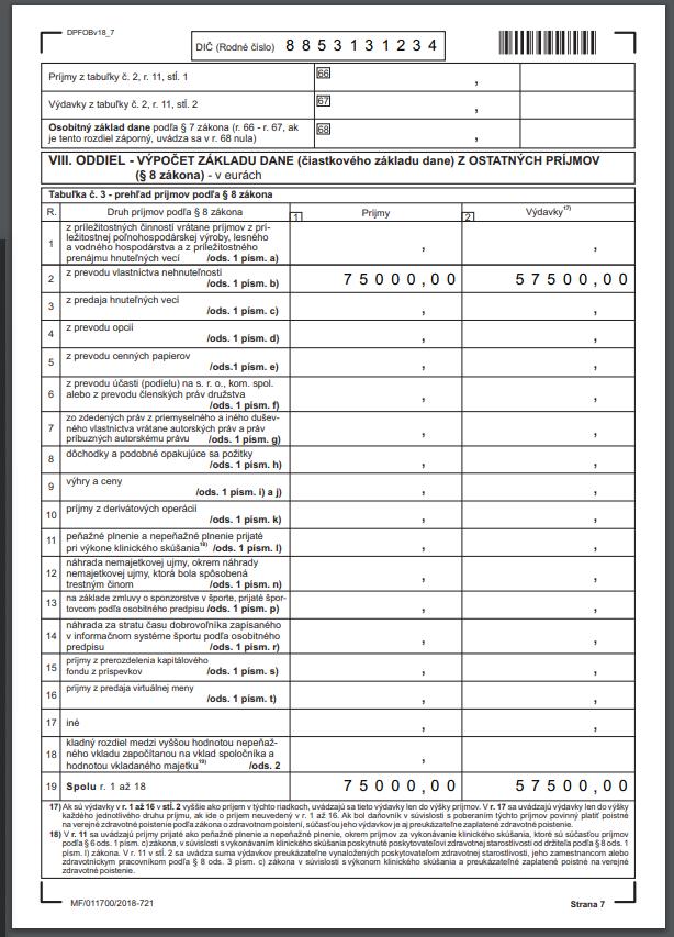 daň z predaja nehnuteľnosti formulár vzor