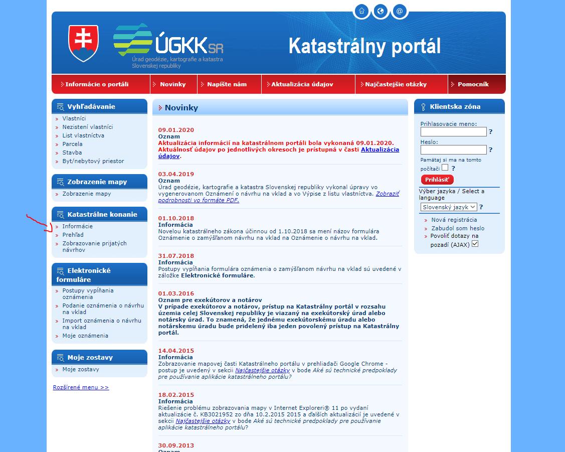 katastrálny portál preverenie stavu konania úvodná stránka
