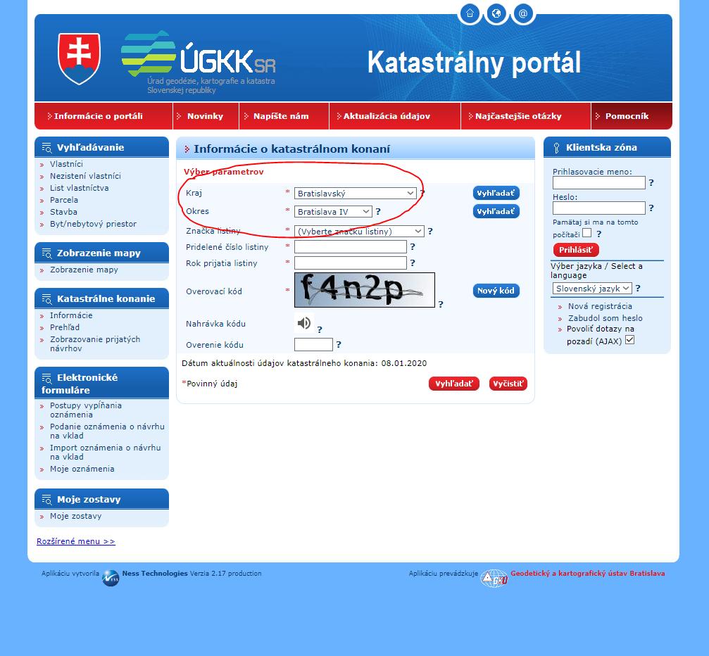 katastrálny portál preverenie stavu konania informácie o katastrálnom konaní