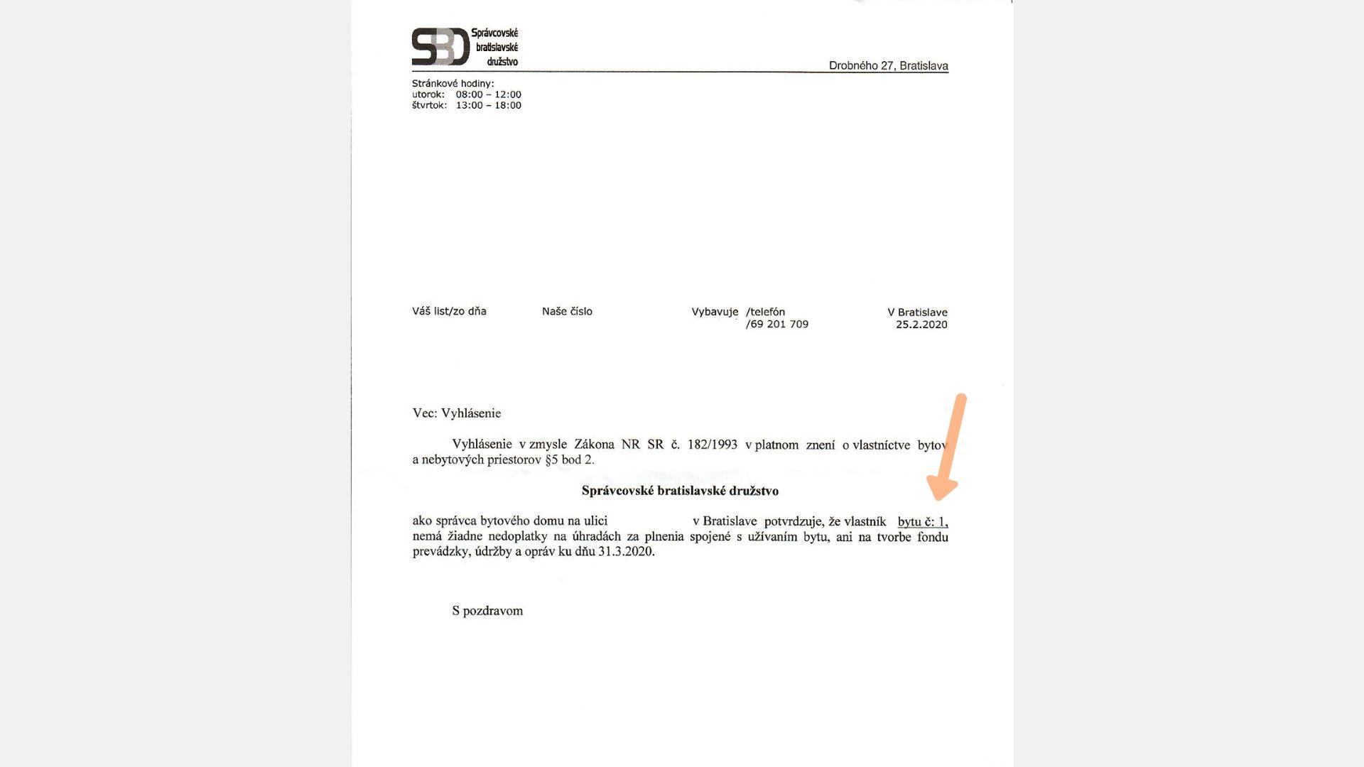 potvrdenie o nedoplatkoch od správcu potrebné pri predaji nehnuteľnosti