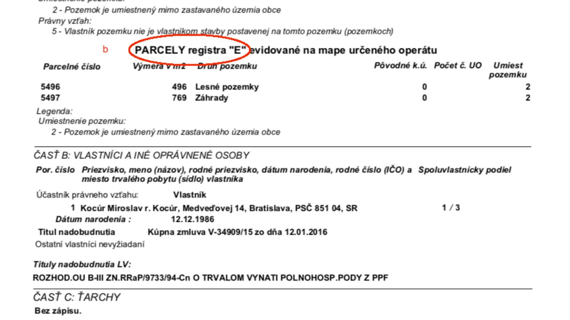 parcela registra E vyznačená na liste vlastníctva