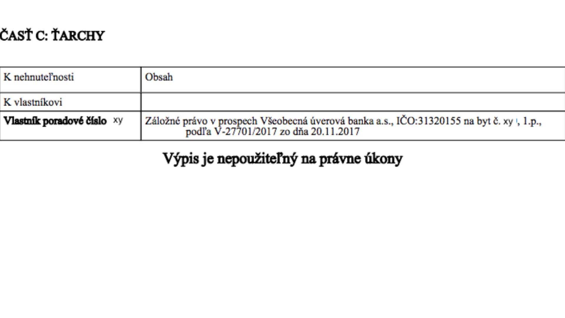 list vlastníctva časť C Ťarchy