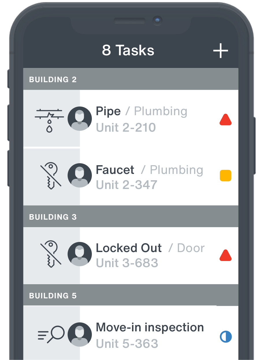 The 'task list' screen showing how tasks such as plumbing repairs are assigned in the Maintenance & Facilities app