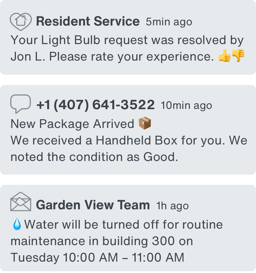 The notification screen in the app, which shows a resident that a service request was received and a package arrived