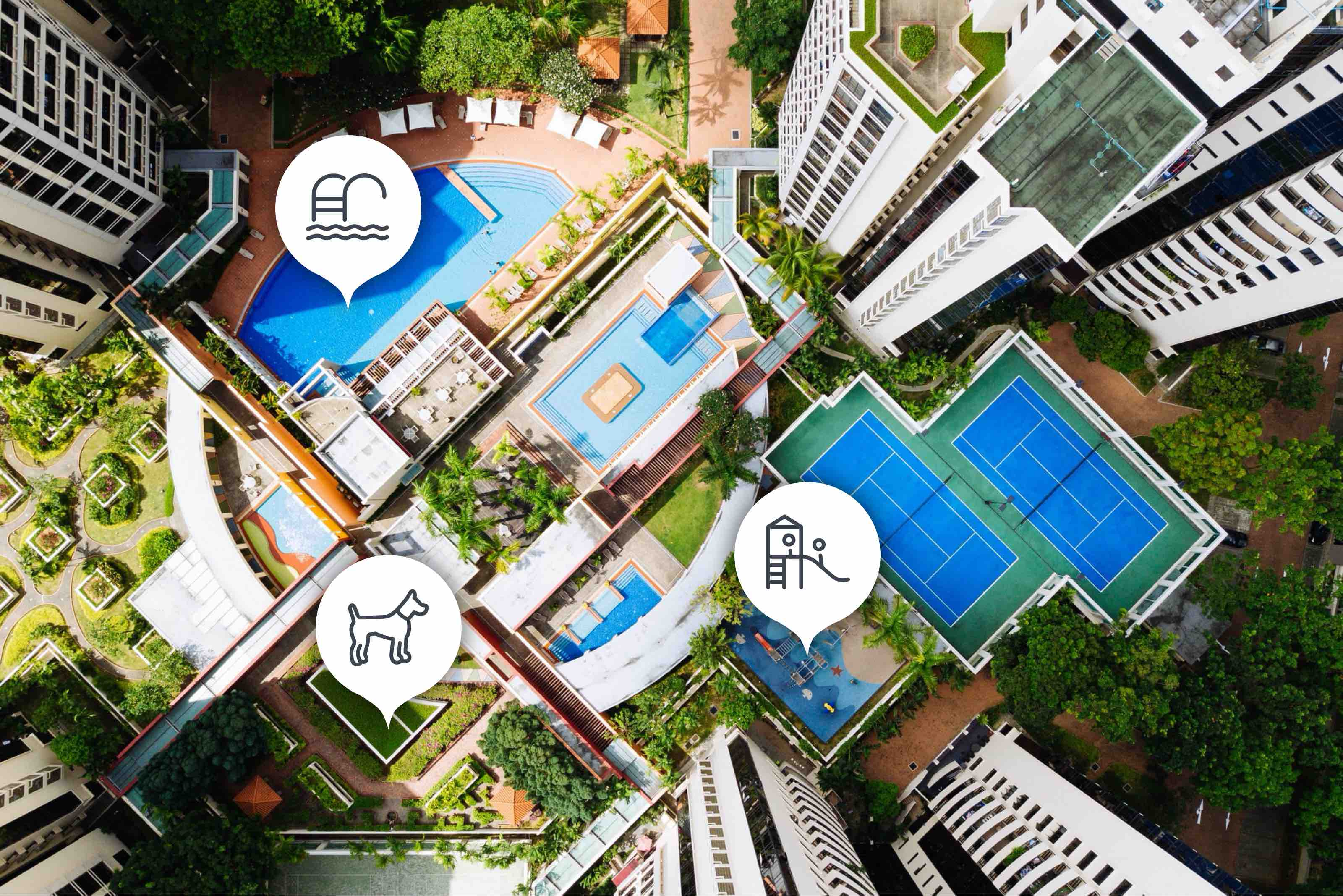 Aerial view of a high-rise community with multiple buildings surrounding pools, tennis courts, and green spaces