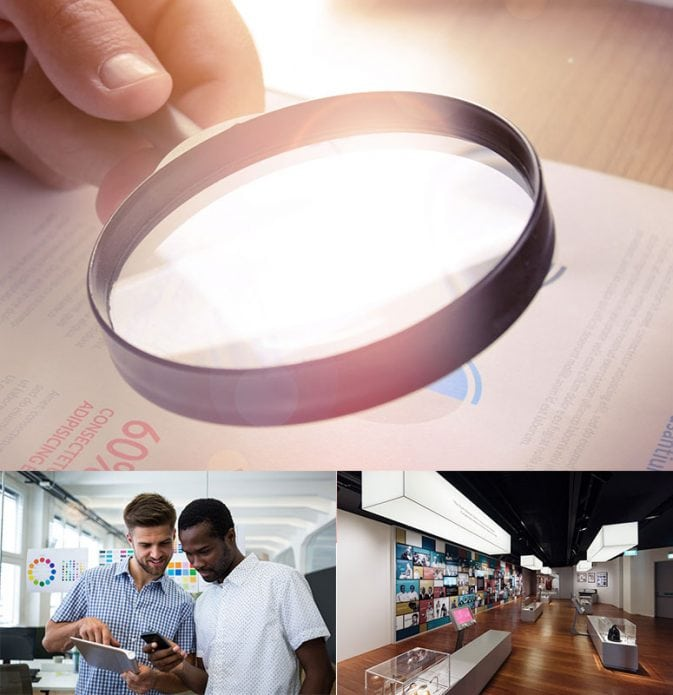 3 images in 1 – man holding a magnifying glass, 2 men comparing a tablet and a smartphone, inside telco retail store