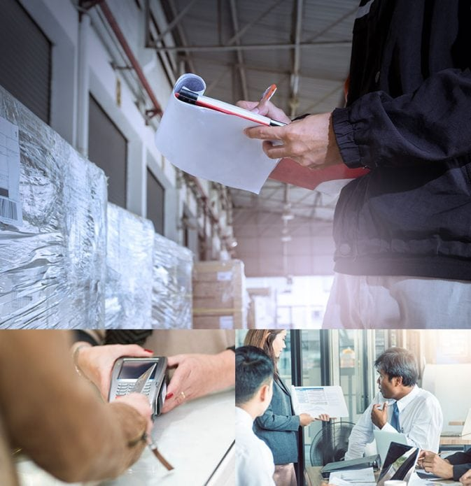 3 images in 1 – man with notebook in warehouse, woman using a debit machine, 3 people in a meeting