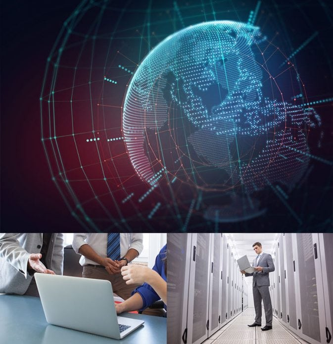 3 images in 1 – digital picture of the globe, image of people meeting with laptop, man with laptop in server room