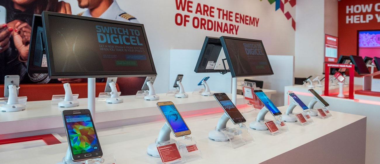 Inside of a Digicel telco retail store