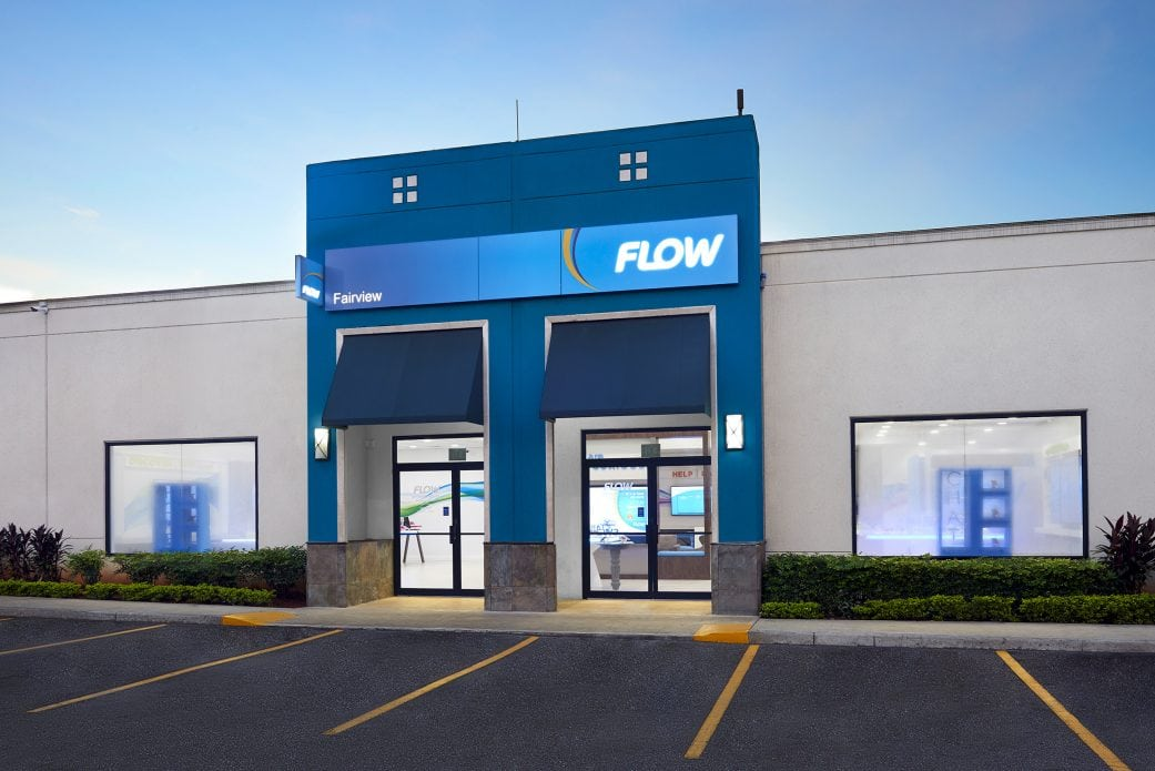 Computer generated image of Flow telco retail store