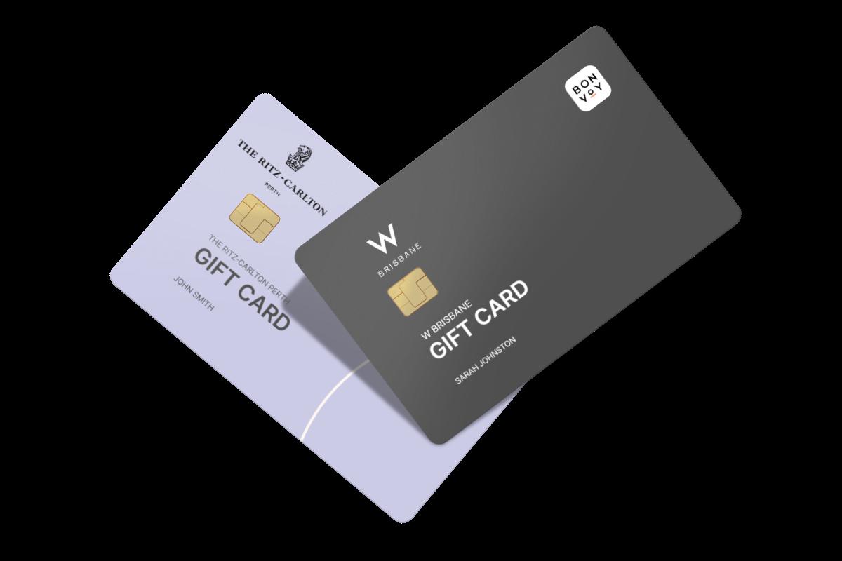 A mockup representation of Marriott Gift Cards