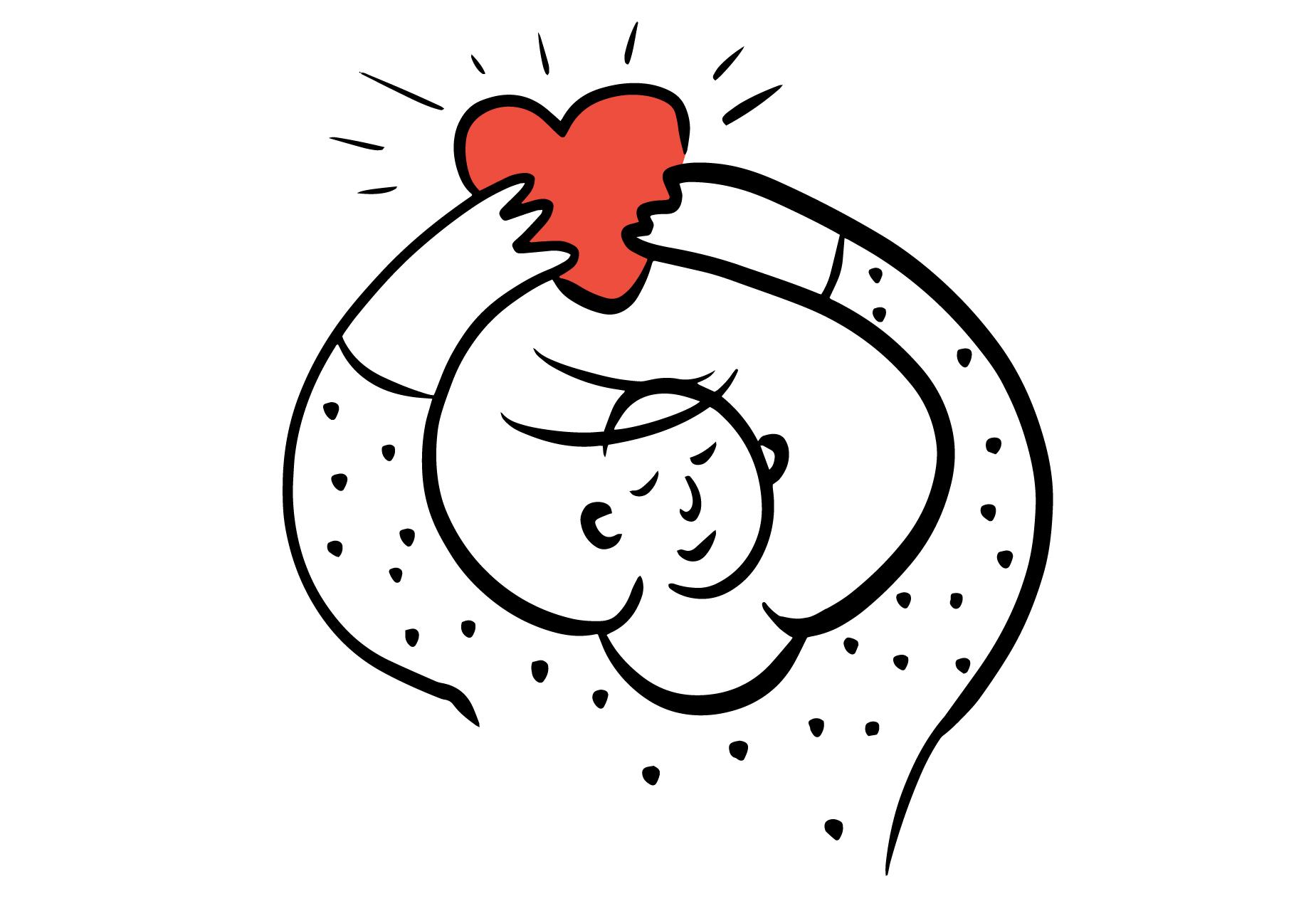 Illustrasjon av en som løfter opp hjerte